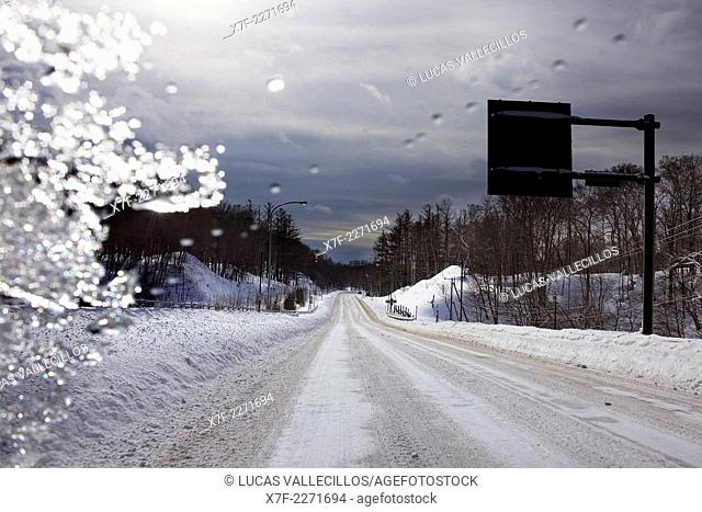 Route 240, road from Akan lake to Kushiro city, ,Hokkaido, Japan