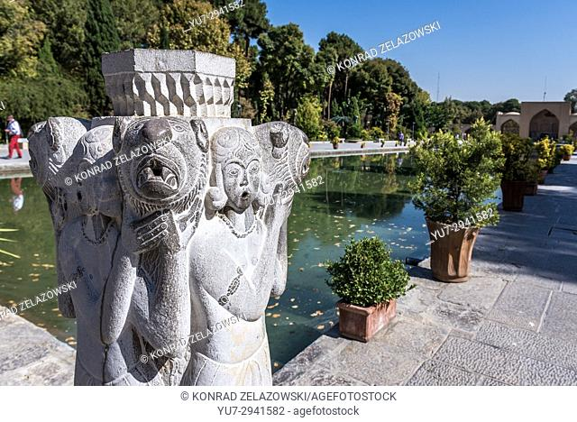 Sculpture and pool in Palace of Forty Columns (Chehel Sotoun) and water pool in Isfahan, capital of Isfahan Province in Iran