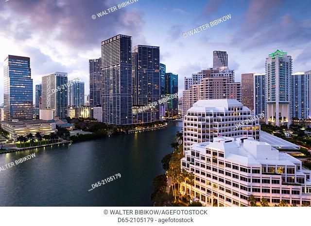 USA, Florida, Miami, elevated city skyline from Brickell Key, evening