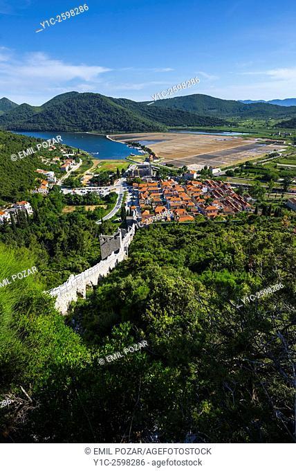 Ston old town in Dalmatia, Croatia, landscape