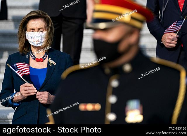 US House Speaker Nancy Pelosi, D-CA, participates in a moment of silence honoring the victims of the 9/11 terrorist attack outside the US Capitol Building on...