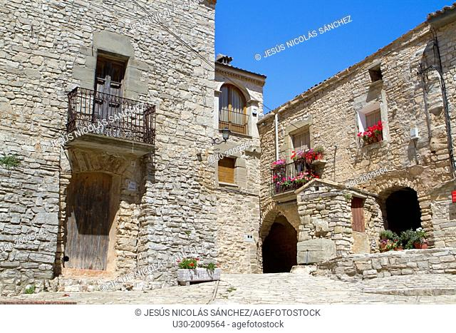 Square of Montfalcó Murallat, a extremly small medieval and fortified village. Segarra. Lleida province. Spain