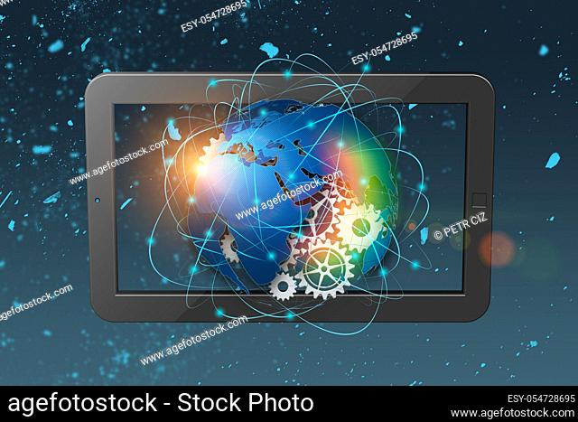 3D rendering technology abstract background, concept of global communication. Globalization concept