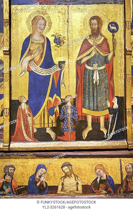 Gothic painted Panel Altarpiece of the Saints John by Master of Santa Coloma de Queralt. Tempera and gold leaf on wood. Circa 1356. 220. 5 x 209