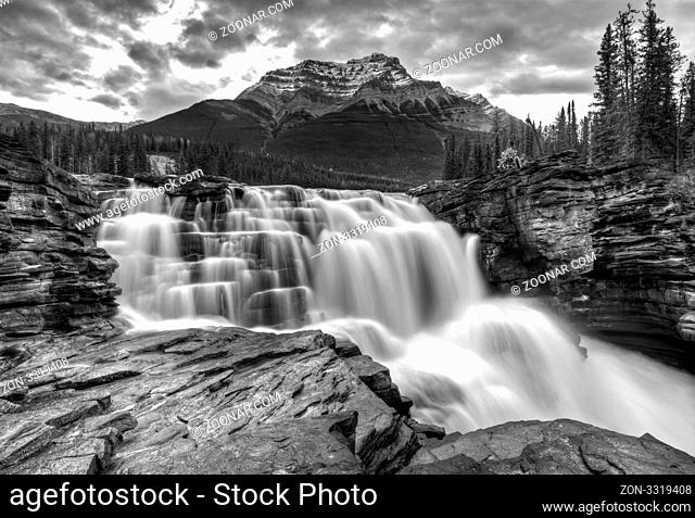 Athabasca Waterfall Alberta Canada river flow and blurred water