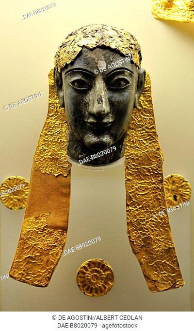 Apollo, Chryselephantine sculpture, ivory, gold, gilded silver, discovered at Delphi, Greece. Ancient Greek civilization, 6th century BC
