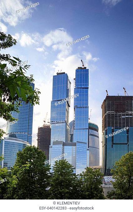 modern building under construction over blue sky, selective focus