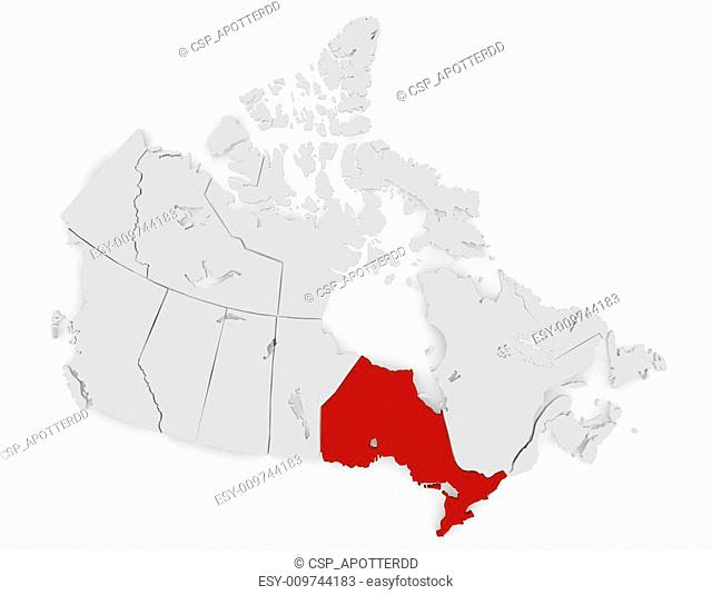 3d Render of Canada Highlighting Ontario