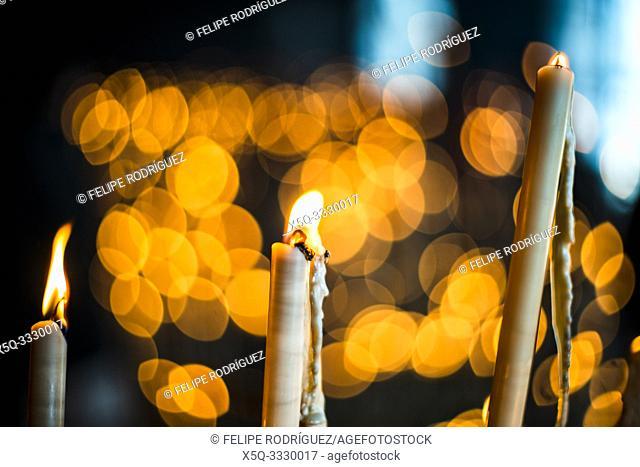 Votive candles, El Rocio sanctuary Andalusia, Spain