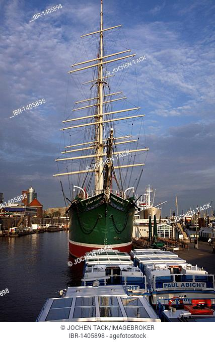 Museum ship, tall ship, Rickmer Rickmers, Hamburg, Germany, Europe