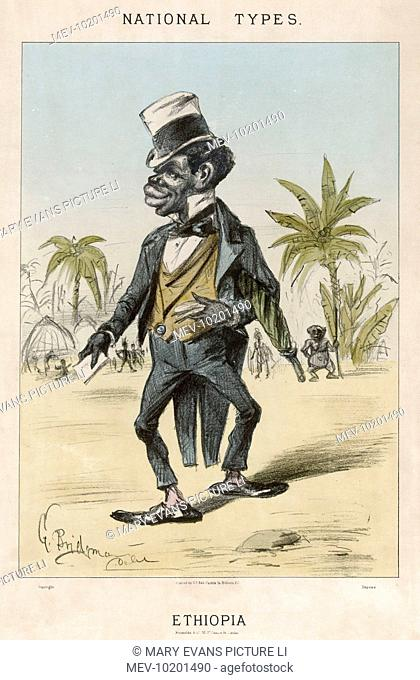 A politically exceedingly incorrect caricature of a citizen of Ethiopia - about the worst example of European patronising in our files !