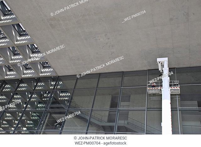 Germany, Berlin, Bundestag, Glass front, window washer