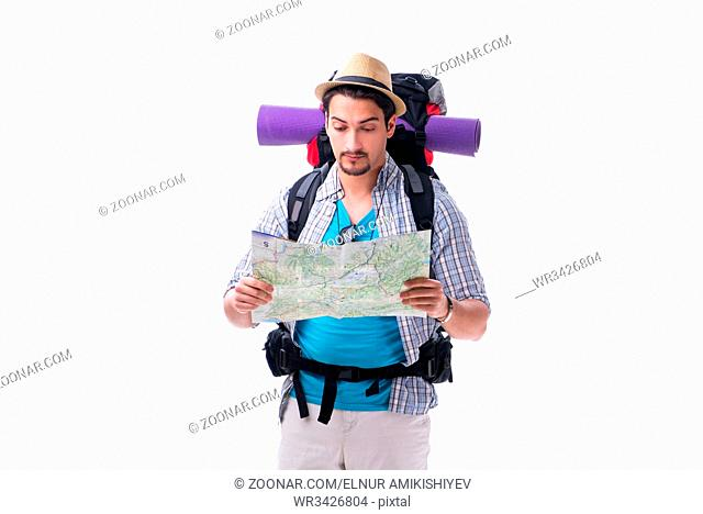 Man lost and looking for direction with map on white