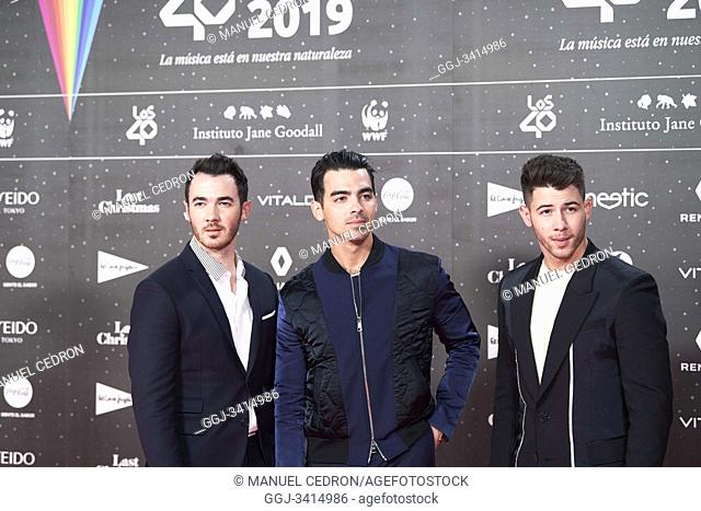 Nick Jonas, Joe Jonas, Kevin Jonas from Jonas Brothers attends Los 40 Music Awards at Wizink Center on November 8, 2019 in Madrid, Spain