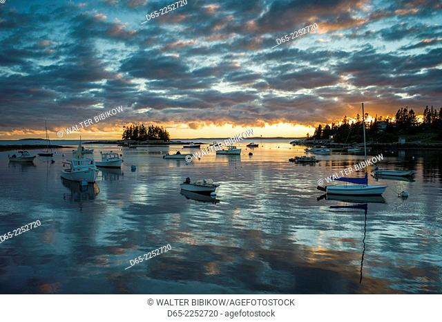 USA, Maine, Newagen, sunset harbor view by The Cuckolds islands