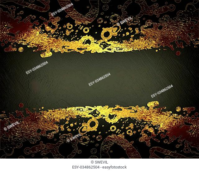 Brown texture with abstract golden edges. template Design