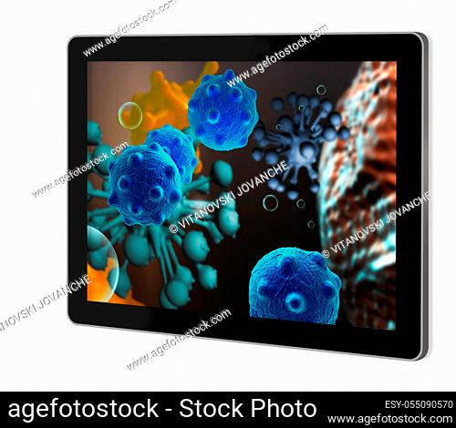 cloud of micro organizam show on tablet made in 2d software isolated on white