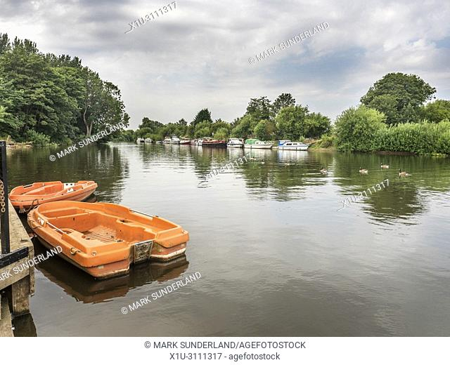 Boats moored on the River Ouse at Naburn village near York Yorkshire England
