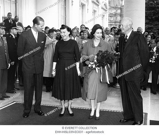 President and Mamie Eisenhower welcome Queen Elizabeth II and Prince Philip. At the White House North Portico. Oct. 17, 1957. - (BSLOC-2014-16-214)