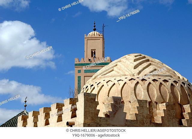 Dome of Almoravid Koubba c12th & Ben Youssef Mosque Marrakesh or Marrakech Morocco