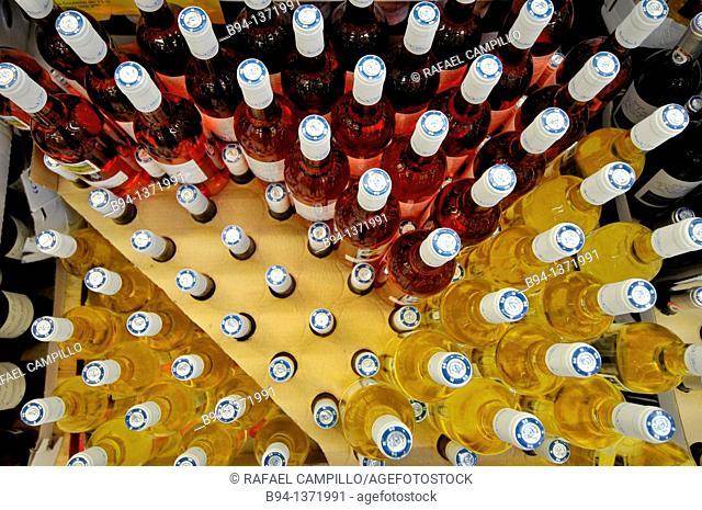 Bottles of wine in a supermarket, France