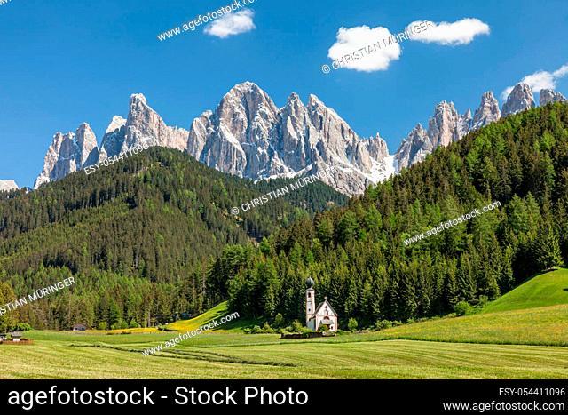 Church of St. John in Ranui at St. Magdalena in Villnoesstal, South Tyrol, Italy