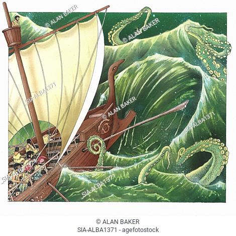 Sea monster attacking ship