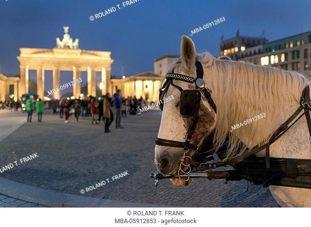 Germany, Berlin, at the Brandenburg Gate, Paris square, passers-by, horse's carriage, dusk