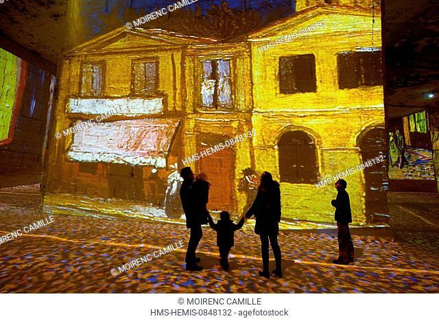 France, Bouches du Rhone, Les Baux de Provence, Carrieres de Lumieres, show by Gianfranco Iannuzzi about Gaugin Van Gogh Painting color