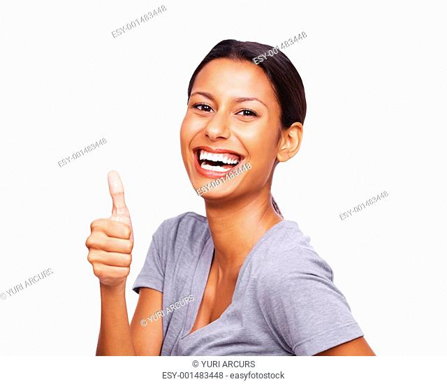 Portrait of a smiling young female showing thumbs sign isolated against white background