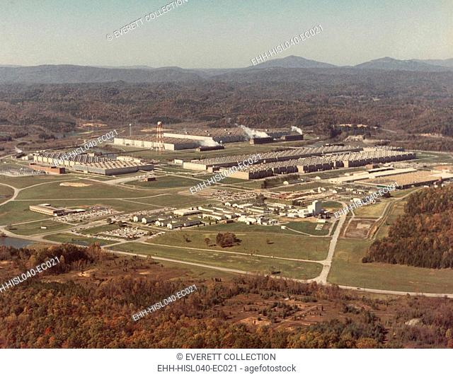 Manhattan Project facility at Oak Ridge, Tennessee, ca. 1950. Then called the 'Energy Research and Development Administration'