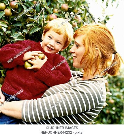 Woman with boy in her arms with apples in the hands