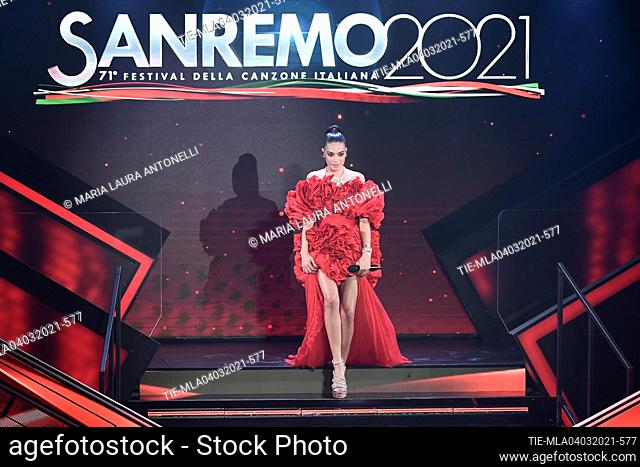 Elodie at the 71st Sanremo Music Festival, Sanremo, ITALY-03-03-2021