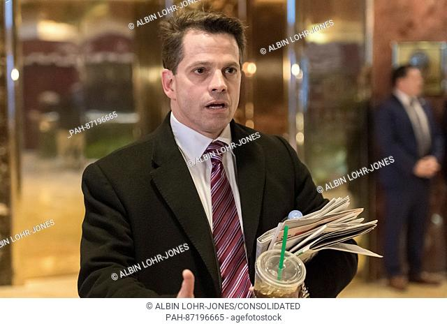 Anthony Scaramucci is seen speaking with members of the press in the lobby of Trump Tower in New York, NY, USA regarding the role that he will play in...