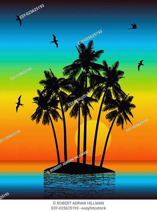 Vector illustration of a tropical island with sunset using gradients