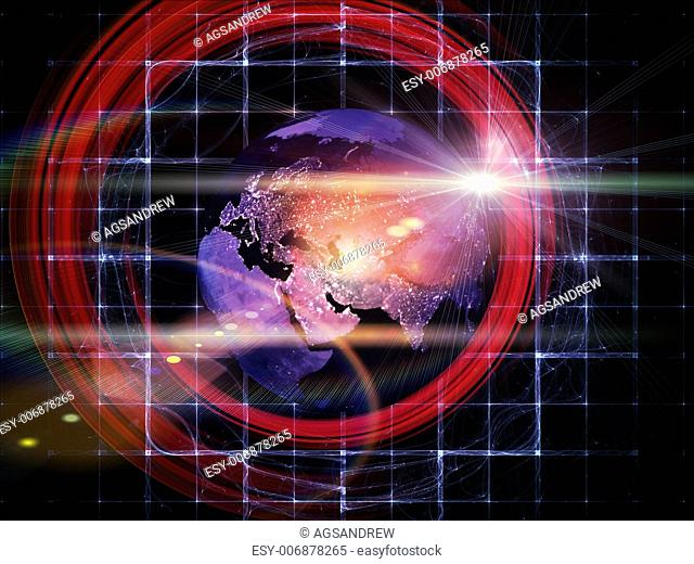 Artistic background made of light trails, satellite imagery (courtesy of NASA) and technological elements for use with projects on science