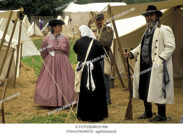 Civil War Reenactment, Stone Mountain, Atlanta, Stone Mountain Park, Georgia, Encampment at the Civil War Reenactment during the Antebellum Jubilee in Georgia's...