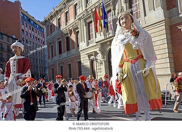 Big heads for children Cabezones, San Fermin festival, Pamplona, Navarra, Euskadi, Spain, Europe