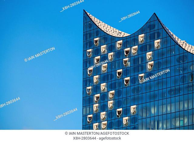 Elbphilharmonie, Hamburg, Germany; Detail of facade of new Elbphilharmonie opera house in Hamburg, Germany