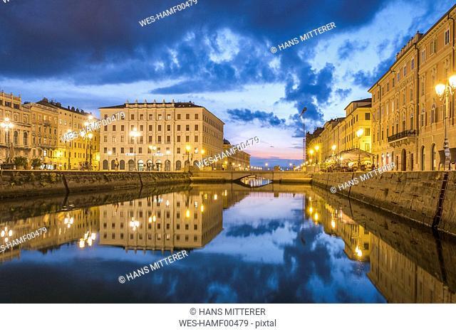 Italy, Friuli-Venezia Giulia, Trieste, Old town, Canal Grande at blue hour