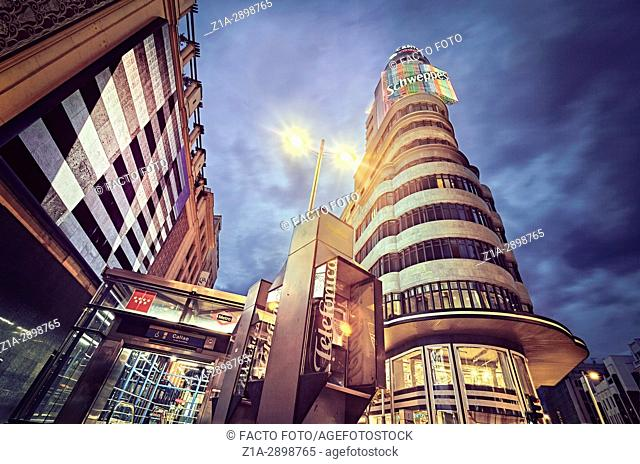 Low angle view of Carrion building at Callao square. Madrid. Spain