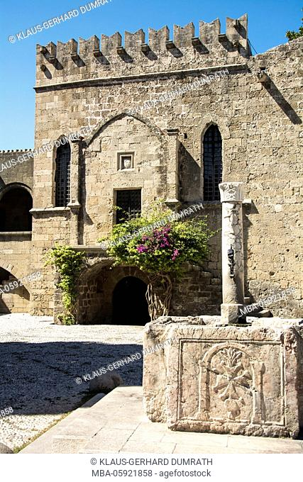 Rhodes, old hospital with well