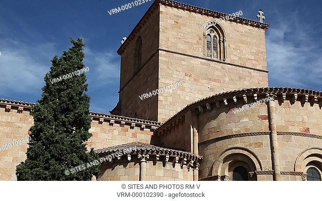 TILT up, CU. Daylight. Exterior of the church, view from the east. The Romanesque basilica was erected between the 11th and 14th centuries