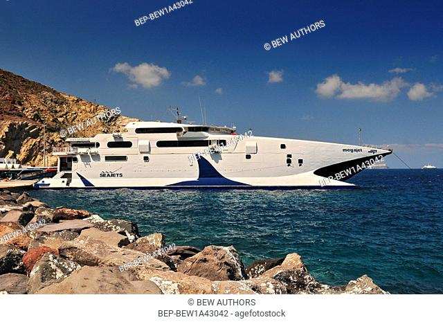 Futuristic Megajet ferry docked in Santorini Port, Cyclades, Greece