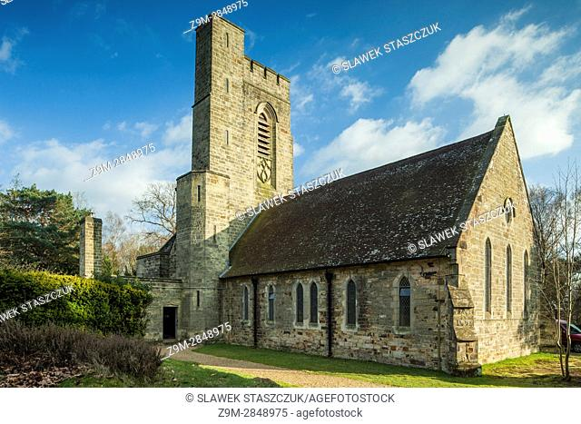 Early spring at St Andrew's church in Fairwarp, East Sussex, England. Ashdown Forest