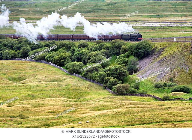 Steam Train Hauled by The Scots Guardsman Approaching Ribblehead Yorkshire Dales England