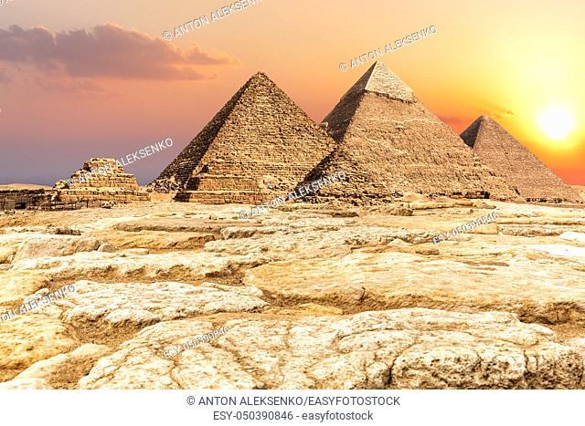 Giza Necropolis, famous Pyramids in the desert in Egypt