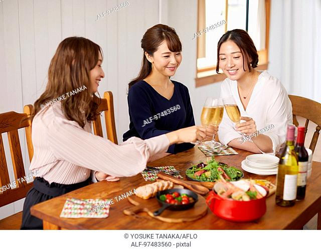 Japanese women having home party