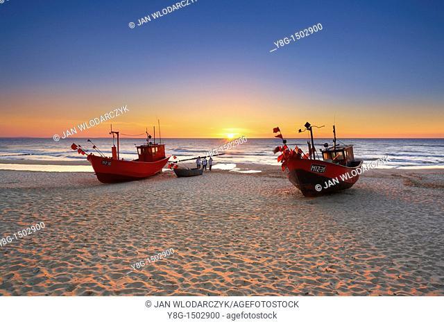 Fishing boat on the beach near the Miedzyzdroje, Baltic Sea, Poland, Europe