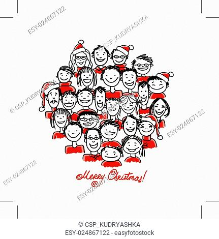 Christmas party with group of people, sketch for your design